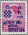 [Yugoslavia Postage Stamps Overprinted in Red or Blue -, type C14]