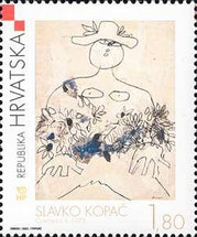 [The Croatian Modern Painting - Slavko Kopac - 'Flower Girl II', type VF]