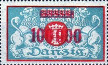 [Inflation Overprint on the Coat of Arms of Danzig, type AH7]