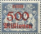 [Hyperinflation Overprints on the Coat of Arms of Danzig, type AQ2]