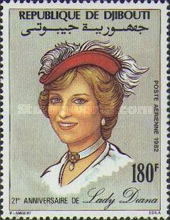 [Airmail - The 21st Anniversary of the Birth of Diana, Princess of Wales, 1961-1997, Typ EF]