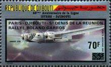 [Airmail - Paris-Djibouti-St. Denis (Reunion) Roland Garros Air Race - Stamp of 1987 Overprinted and Surcharged 70F., Typ JL1]