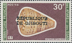 """[Various Stamps from Afars and Issas Overprinted """"REPUBLIQUE DE DJIBOUTI"""" in 1 or 2 Lines, Typ YAA7]"""