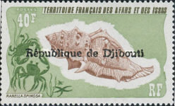 """[Various Stamps from Afars and Issas Overprinted """"REPUBLIQUE DE DJIBOUTI"""" in 1 or 2 Lines, Typ YAA8]"""