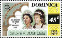 [The 25th Anniversary of the Reign of Queen Elizabeth II - Different Perforation, Typ OM1]
