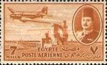 [Airmail - Nile Dam and King Farouk, type DH3]
