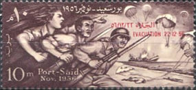 [Evacuation of British and French Troops from Port Said - Overprinted