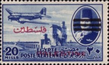[Airmail - Aswan High Dam, Airplane and King Faouk -  Egyptian Occ. Palestine Airmail Stamps of 1948 Overprinted, type G6]