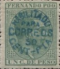 [King Alfonso XII - Nos. 5, 6 & 7 Handstamped in Blue, Black or Violet, type D]