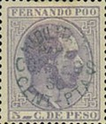 [King Alfonso XII - Nos. 5, 6 & 7 Handstamped in Blue, Black or Violet, type D2]