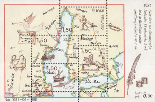 [Stamp Exhibition FINLANDIA 88 - Map, Typ ]