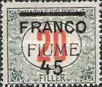 """[Postage-due Stamps No. 7 & 11 Overprinted """"FRANCO"""" and used as Postage Stamps, type W]"""