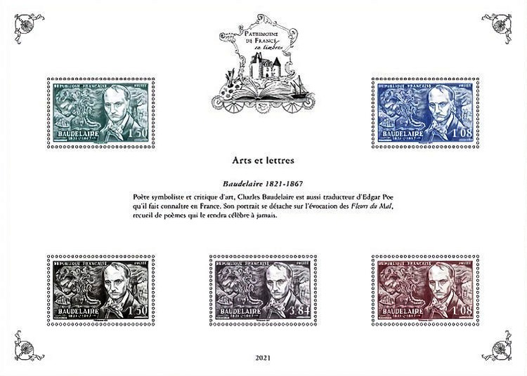 [Philatelic Treasures - Arts & Letters - The 200th Anniversary of the Birth of Charles-Pierre Baudelaire, 1821-1867, type ]