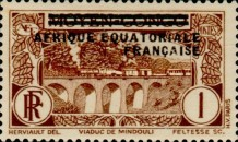 [Postage Stamps from Middle Congo Overprinted, type B]