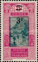 [Landscape - Ford at Kitim, No. 78, 105 & Not Issued Stamps Surcharged, type K5]