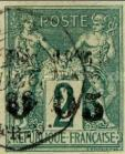 [French Colonies - General Issues Number 25 & 46 Surcharged and Overprinted