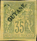"[French Colonies - General Issues Overprinted ""GUYANE"", type E2]"