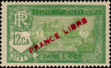 [Pondicherry Temple Stamps of 1929 Overprinted