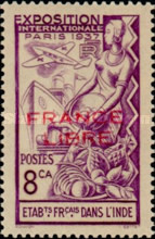 [World Expo Paris Stamp of 1937 Overprinted