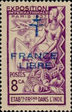 """[World Expo Paris Stamp of 1937 Overprinted """"FRANCE - LIBRE"""", type AO1]"""