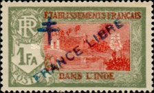 [Pondicherry Temple Stamps of 1929 Overprinted with Cross of Lorraine &