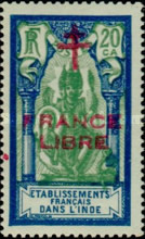 [Shiva Stamps of 1929 Overprinted with Cross of Lorraine &