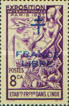 [World Expo Paris Stamp of 1937 Overprinted with Cross of Lorraine &