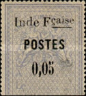 "[Overprinted ""Inde Fcaise - POSTES"" & Surcharged, type C]"