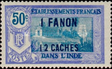 [Pondicherry Temple Stamps of 1914 & 1922 and Not Issued Stamps Surcharged, type N11]