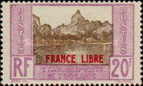 [French Oceania Postage Stamps Overprinted