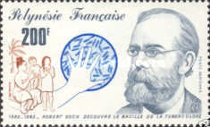 [Airmail - The 100th Anniversary of the Discovery of the Tuberculosis  Bacillus by Robert Koch, 1843-1910, type LT]