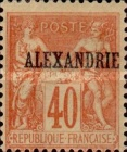 "[French Postage Stamps Overprinted ""ALEXANDRIE"" - Colored Paper, type A12]"