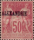 "[French Postage Stamps Overprinted ""ALEXANDRIE"" - Colored Paper, type A13]"