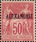 "[French Postage Stamps Overprinted ""ALEXANDRIE"" - Colored Paper, type A14]"
