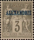 "[French Postage Stamps Overprinted ""ALEXANDRIE"" - Colored Paper, type A2]"
