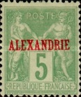 "[French Postage Stamps Overprinted ""ALEXANDRIE"" - Colored Paper, type A5]"