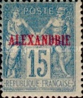 "[French Postage Stamps Overprinted ""ALEXANDRIE"" - Colored Paper, type A8]"