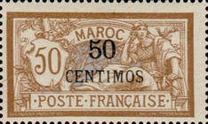 [French Postage Stamps Surcharged, type E4]