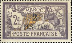 [French Postage Stamps Surcharged, type E6]