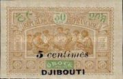 """[Obock Postage Stamps Overprinted """"DJIBOUTI"""" and Surcharged Value, type Q]"""