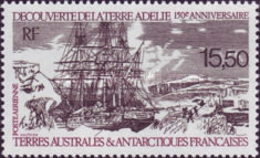 [Airmail - The 150th Anniversary of Discovery of Adelie Land by Dumont d'Urville, type IP]