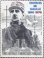 [Airmail - The 100th Anniversary of the Birth of Charles de Gaulle (French Statesman), 1890-1970, type JE]