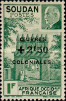 [Airmail - Entry to the Residency at Djenné & Marshal Petain Stamps of 1941 Overprinted & Surcharged, type AB3]