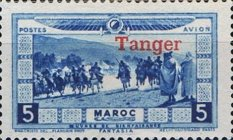 """[Airmail - Morocco Postage Stamps Overprinted """"TANGER"""" & Surcharged, type C]"""