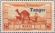 """[Airmail - Morocco Postage Stamps Overprinted """"TANGER"""" & Surcharged, type C1]"""
