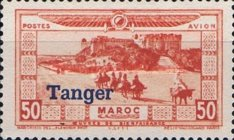 """[Airmail - Morocco Postage Stamps Overprinted """"TANGER"""" & Surcharged, type C2]"""