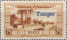 """[Airmail - Morocco Postage Stamps Overprinted """"TANGER"""" & Surcharged, type C3]"""