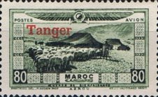 """[Airmail - Morocco Postage Stamps Overprinted """"TANGER"""" & Surcharged, type C4]"""