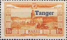 """[Airmail - Morocco Postage Stamps Overprinted """"TANGER"""" & Surcharged, type C5]"""