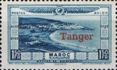 """[Airmail - Morocco Postage Stamps Overprinted """"TANGER"""" & Surcharged, type C6]"""
